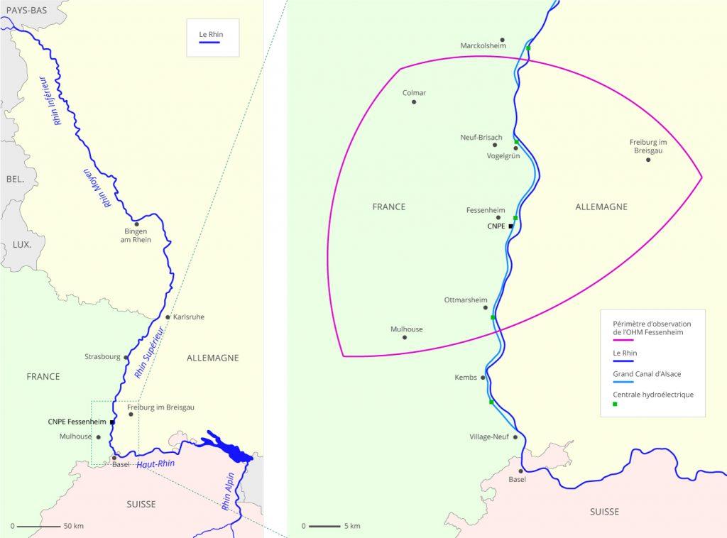 Carte du Rhin et du Grand Canal d'Alsace