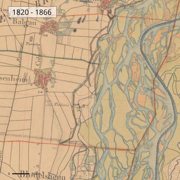 Territoire de Fessenheim - Carte d'état major 1820 - 1866